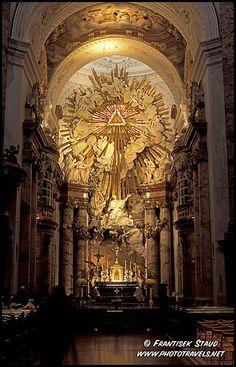 Altar and fresco in Baroque style, Karlskirche, Vienna, Austria