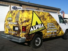 Partial vehicle wraps, for Alpha Fire, on trucks and vans. You can see more of this work at http://www.linsonsigns.com/work/partial-vehicle-wraps-2013-alpha-fire