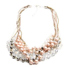 Spring Cluster Pearls Necklace Set  Multi Chains, Pearls and Crystals Necklace