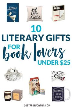 These literary gifts are the perfect find for under $25. From cocktail books to scarfs with quotes, you're bound to find something for your favorite book lover. #giftguide #booklover #frugal