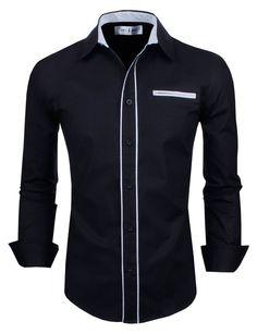 Tom's Ware Mens Premium Casual Inner Contrast Dress Shirt TWNMS310-1-CMS03-BLACK-US S