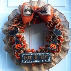 Halloween Wreath, Halloween Cat Wreath, Halloween Wreaths for Front Door, Halloween Burlap Wreath, Halloween Decor Outdoor, Halloween Door