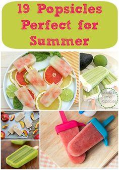 19 Popsicle #Recipes Great Desserts, Frozen Desserts, Frozen Treats, Popsicle Recipes, Snack Recipes, Dessert Recipes, Healthy Recipes, Summer Drinks, Summer Fun