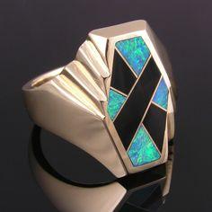 Australian opal and black onyx man's ring by HilemanJewelry, $2400.00