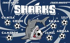 Sharks-44938  digitally printed vinyl soccer sports team banner. Made in the USA and shipped fast by BannersUSA. www.bannersusa.com