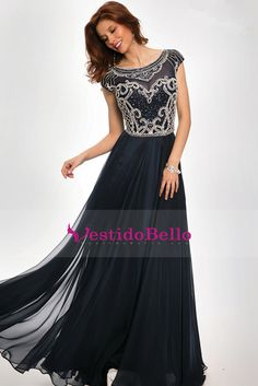 2016 vestidos de baile A-Line Scoop oscuro Azul marino largos de gasa vestidos de Chic