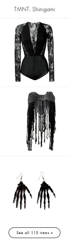 """""""TMNT; Shinigami"""" by jack-rabbit ❤ liked on Polyvore featuring bodysuits, tops, body, zuhair murad, black, accessories, scarves, shawl, grey and gray shawl"""