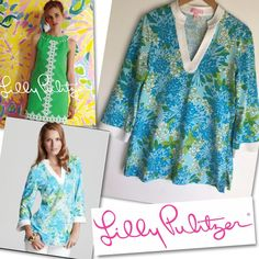 LILLY PULITZER JOY BLUE GREEN WHITE TOP SHIRT BLOUSE TUNIC SZ S