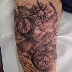 @melina_tattoo #tattoos #blackandgreytattoo #blackandgreytattoos #blackandgrey #compass ...