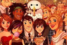 Oscar Awards to Big Hero 6- Hiro Hamada, Tadashi, Honey Lemon, GoGo Tomago, Aunt Cass, Wasabi, Fred, Baymax and the Big Hero 6 cast characters