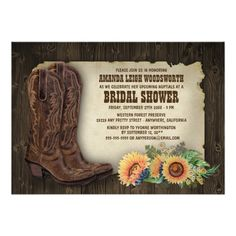 Cowboy Boots Sunflower Bridal Shower Invitations