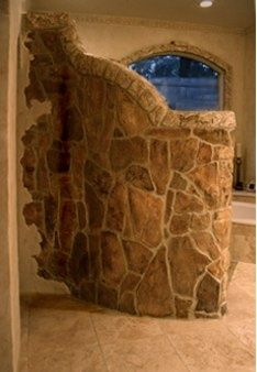 Walk In Shower ~ Stone Wall by Janie Cavender, via Flickr