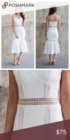 ShopLetucc Royal Dress Beautiful mermaid midi dress, that is perfect for a Sunday brunch or an afternoon wedding. This white dress has lace detail at the waist line and down the entire dress. Material: 97% Polyester, 3% Spandex & Lining Shop Letucc Dresses Midi