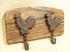Rustic rooster coat rack  lodge cabin farmhouse by BlackCatHill, $20.00