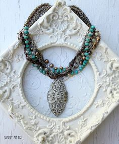 Vintage Rhinestone Gemstone and Pearl Chunky by simplymeart, $95.00