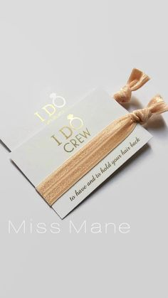 I Do Crew / Hair Tie Favour / Bridesmaid by MissManeAccessories