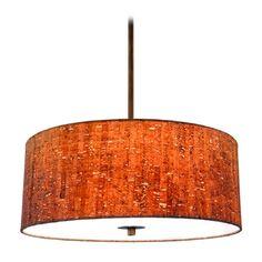 Design Classics Lighting Cork Drum Pendant Light in Bronze | DCL 6528-604 SH7458 KIT | Destination Lighting