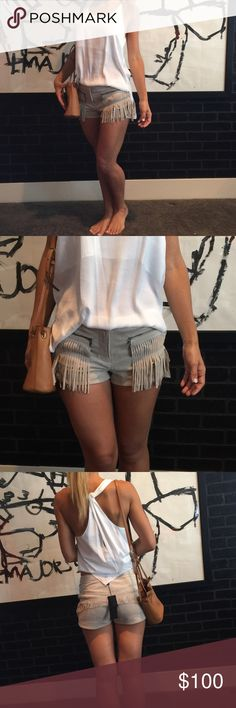 Bcbg suede fringe shorts Brand new with tags BCBG Max Azria suede fringe shorts. Zipper pockets, fringe on front and back. Very cute, brand new!                       NO Trades‼️‼️         offers appreciated thru the offer button.              〽️ercari always has listing at a lower price ! BCBG Shorts