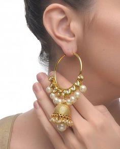 Hoop Earrings with Jhumka Drop