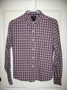 b742d87c75fe Vintage Ladies Purple   White Plaid Long Sleeve Button Down Blouse by Bass  Large Only 10 USD