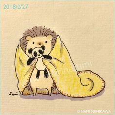 1426 眠れないの?はりこのパンダちゃん貸してあげようか? Can't you sleep? Shall I lend my panda to you? #illustration #hedgehog #panda #イラスト #ハリネズミ #パンダ #なみはりねずみ