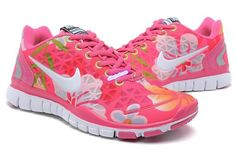 UK Nike Free 5.0 Tr Fit 2 Women Pink Flower Pattern With Red Coral OliveDrab White Training Shoes Outlet
