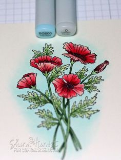 Copic coloring tutorial for Poppies, by Sharon Harnist (JustRite Jan 2013 Poppies Labels 29 stamp image).