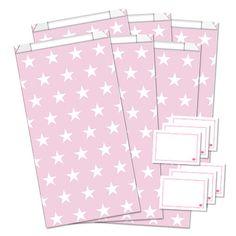 6er-Set Geschenktüten + Sticker  - Stars - rosa/weiß