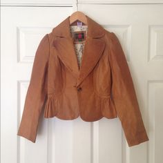 Gallery Genuine Leather Jacket 100% genuine leather jacket. Gently worn, absolutely beautiful leather with the contrasting white lace interior lining. Minor tear inside jacket. Gallery Jackets & Coats