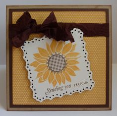 """I stamped a sunflower and sentiment from the Papertrey Ink Simple Sunflower stamp set on a 2 1/2"""" shape cut from the Elegant Edges Cricut cartridge"""