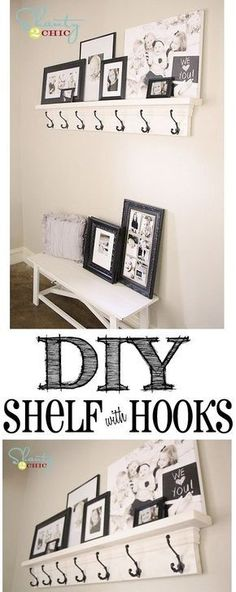 DIY Shelf with Hooks! So cheap and easy!! (Cute southern idea to use as a mantle for Christmas stockings!)