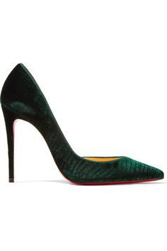 Heel measures approximately 100mm/ 4 inches Emerald croc-effect velvet Slip on Made in Italy