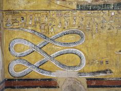 God of darkness & evil, the snake Apep. Vly of the Kings, Tomb of Seti I, mural painting w/snake motif