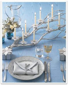 {LUCIA|PAUL DESIGN} | Luxury Florida Destination Wedding Planner + Designer Love the menorah, great idea for the natural (ok, painted silver) look!
