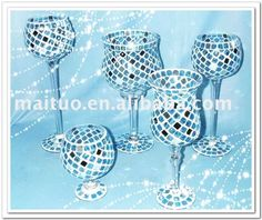 glass mosaic vase,glass mosaic candle holder ,glass hurricane craft