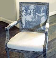 """Found by a great resale shop, this idea. Google for """"printing on fabric"""" to make your OWN PERSONAL unique piece out of a found treasure."""