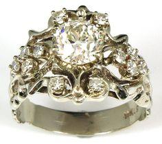 Vintage 1920's White Gold Engagement Ring by WilsonvilleDiamond, $3500.00