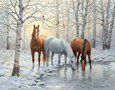 Frosty Sunshine - Horses by Persis Clayton Weirs