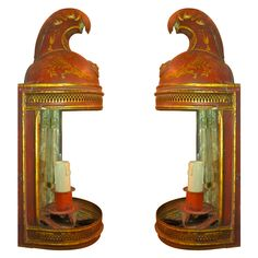 Pair of 19th Century French Red Tole Helmut Sconces - France, 19th Century -  Ann Madonia Antiques, Southampton, NY