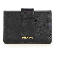 Prada Saffiano Leather Accordion Card Case ($295) ❤ liked on Polyvore featuring bags, wallets, wallet, clutches, apparel & accessories, black, snap wallet, accordion wallet, card case wallet and card carrier wallet