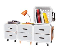 QUIRKY STORAGE SYSTEM - available at Office Max and maybe available at Staples - modular system - good item over other cubes it holds up to 300lbs - just in case someone sits on it! - This company is made in the USA and has a program to help you get your inventions made - check them out at http://www.quirky.com/crate