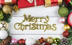 Download wallpapers Merry Christmas, New Year, decorations, Christmas balls