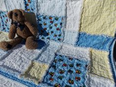 Baby Boy Trains Rag Quilt Flannel Blanket on Etsy, $88.00