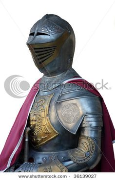 Armored Medieval knight Knight's armor isolated on white