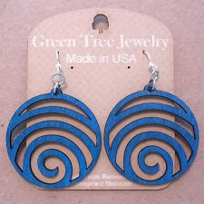 WAVE laser-cut wood earrings Green Tree Jewelry modern-spiral CHOOSE COLOR 1054