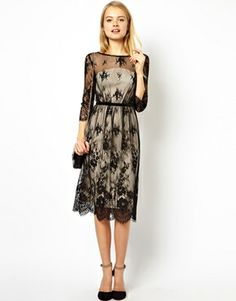 Image 4 of ASOS Pretty Scallop Lace Midi Dress