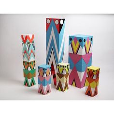 We  these #bright #paper #sculpture towers by #harklondon #artdeco #pastel #neon #graphicdesign #inspo