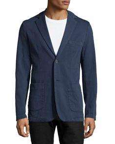 Neiman Marcus Piqué Two-Button Blazer, Midnight (Black), Men's, Size: 46