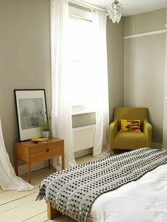 bedroom - nightstand, side chair and comforter