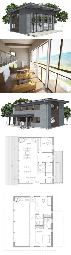 Small house plan with simple lines & shapes to tiny lot.